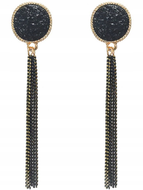 Item M236 BLACK Earrings Long Thread Dangle Gold