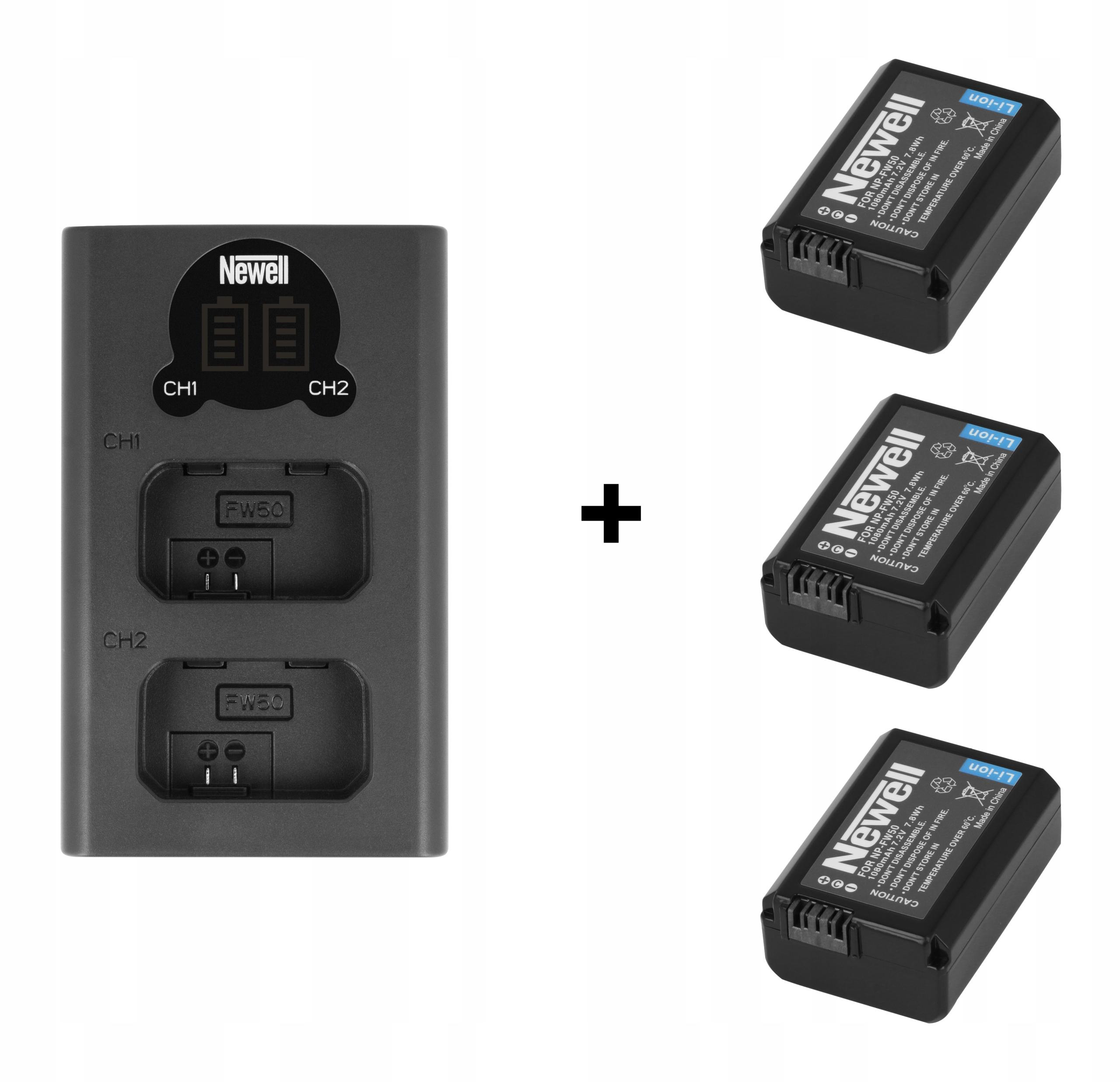 Ładowarka USB-C+3 aku Newell NP-FW50 do Sony A6500