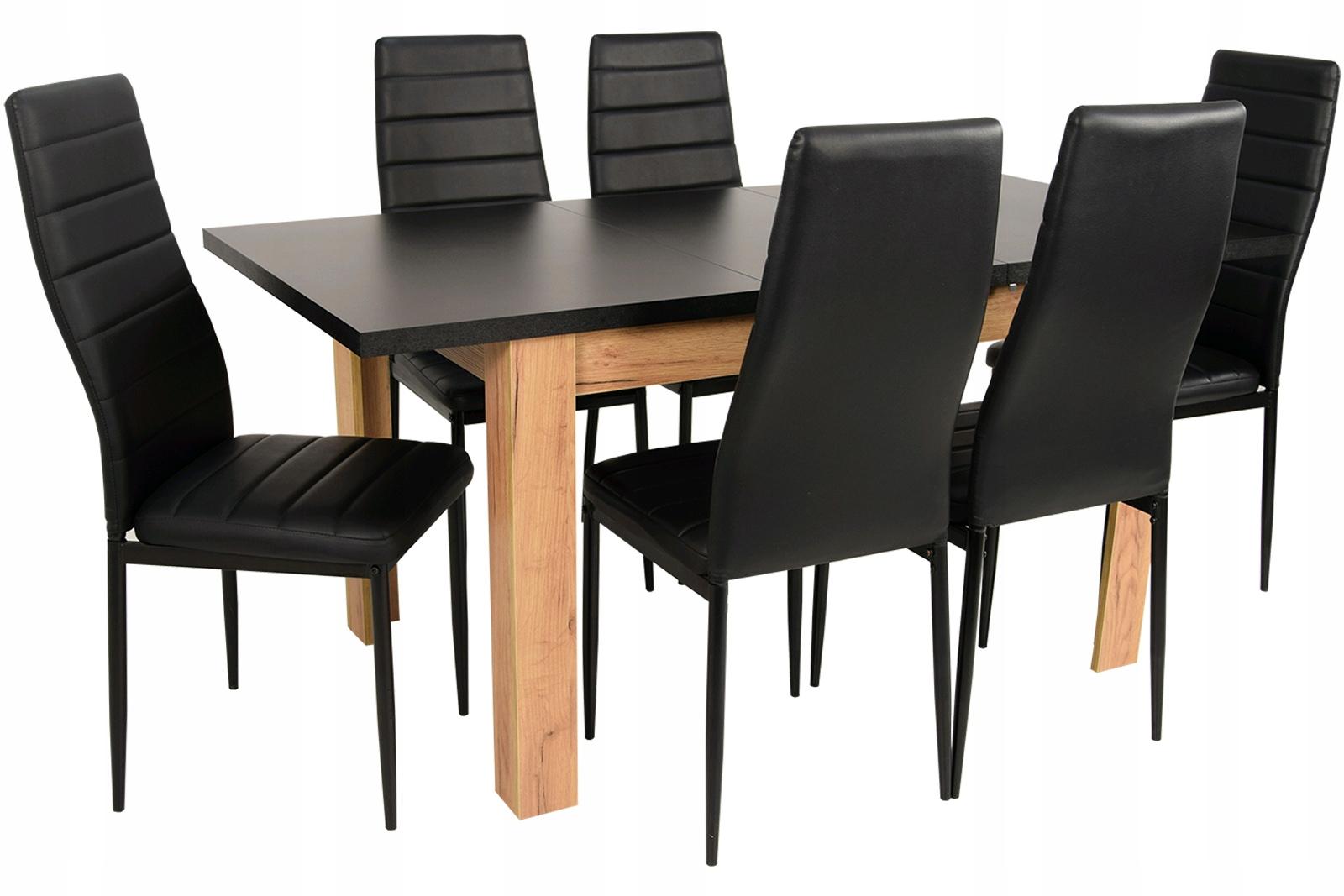 160 rozšíriteľný jedálenský stôl a 6 stoličiek, nastavený PRE OBÝVACIA izba
