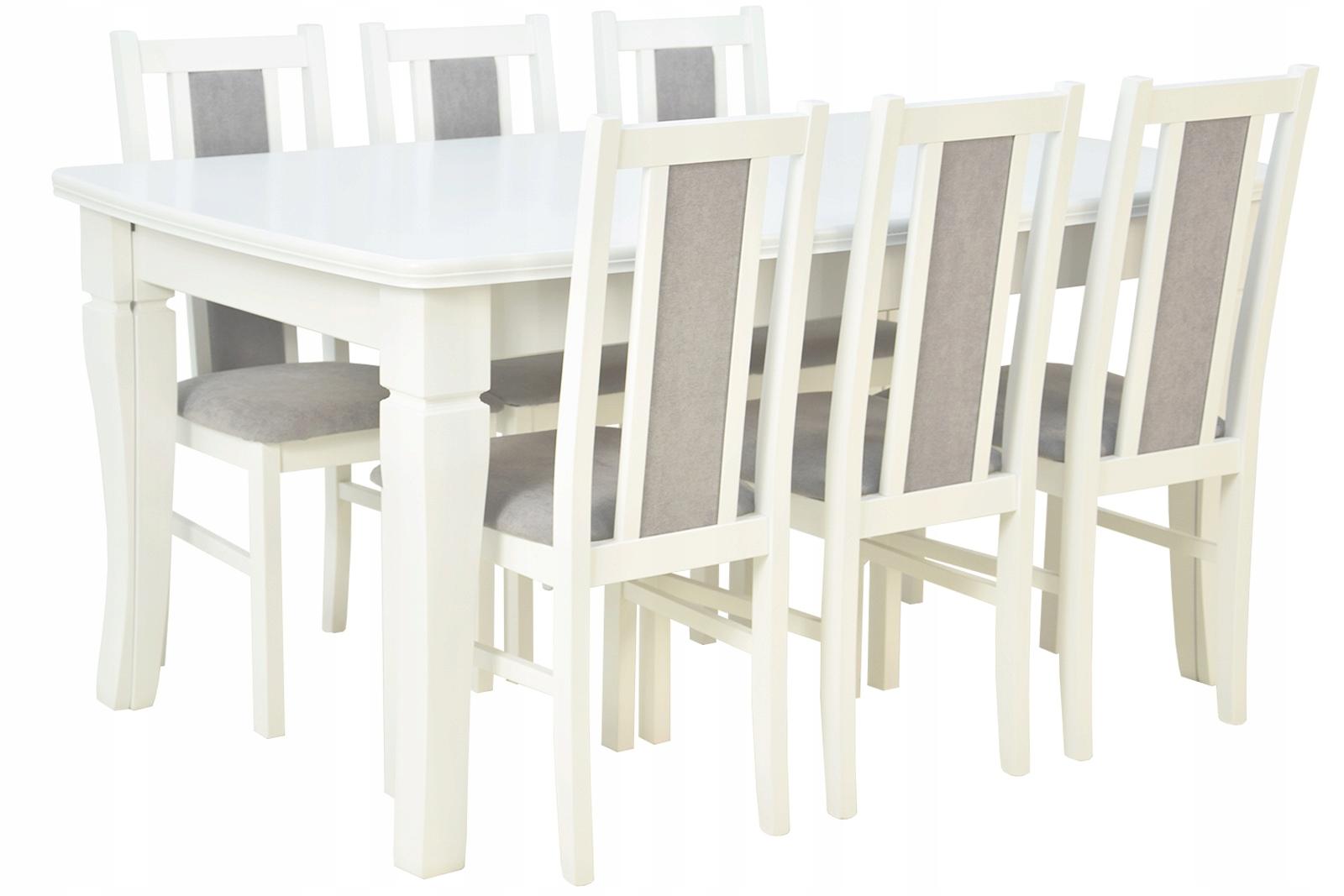 Купить БЕЛО-СЕРЫЙ КОМПЛЕКТ Стол 4м и 6 стульев из ДЕРЕВА на Otpravka - цены и фото - доставка из Польши и стран Европы в Украину.