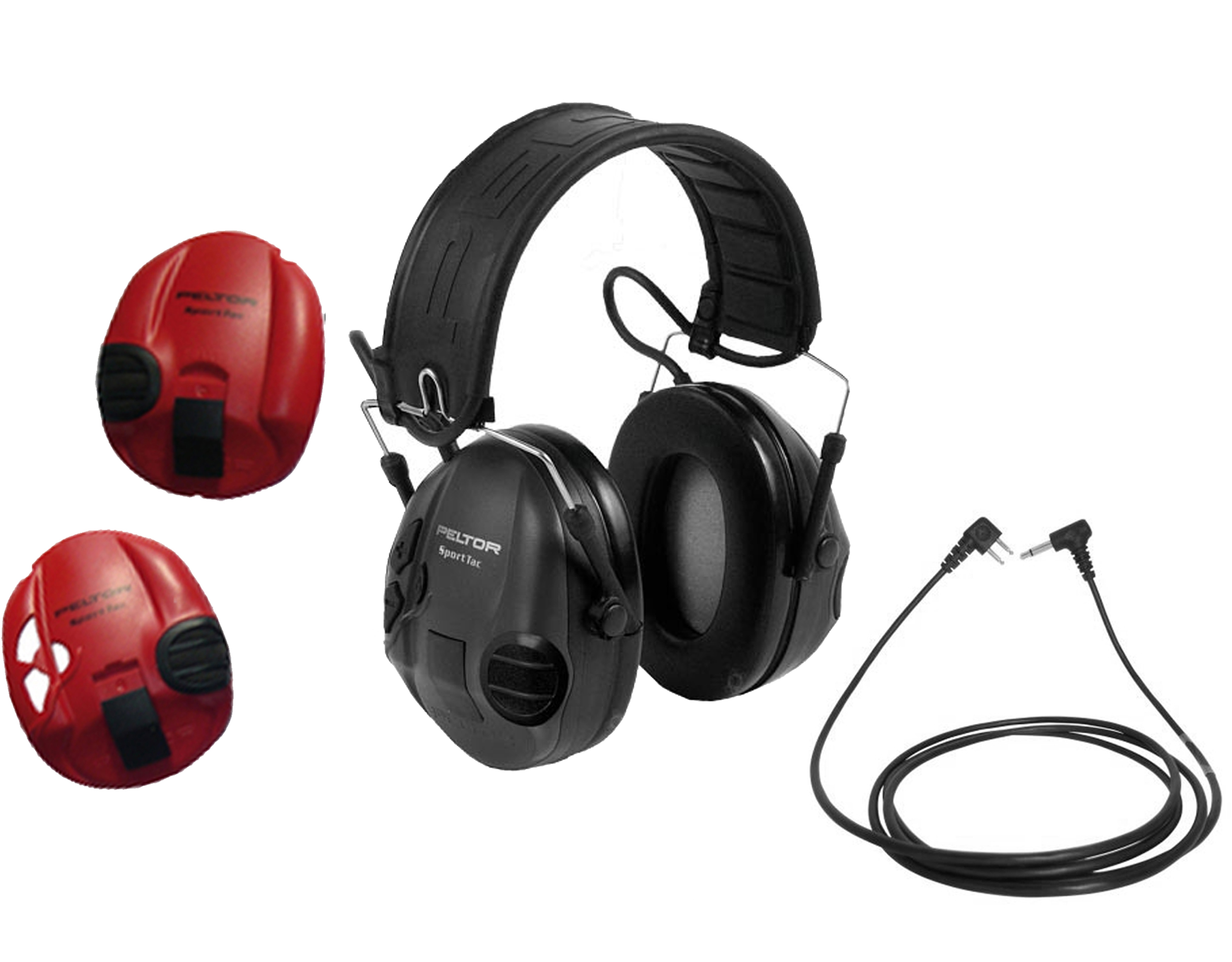 Chrániče sluchu PELTOR SportTAC FL6H KÁBEL, čierny