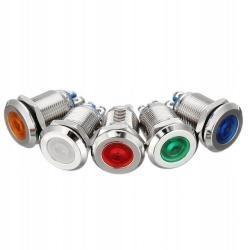 Лампочка СВЕТОДИОДНАЯ 16 мм красный 12V металлический соединяется
