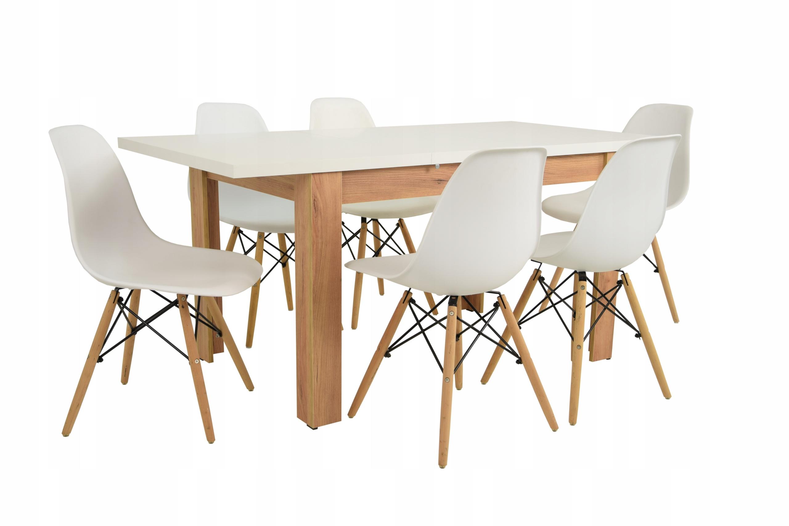 Skandynawski zestaw do salonu stół 80x120/160