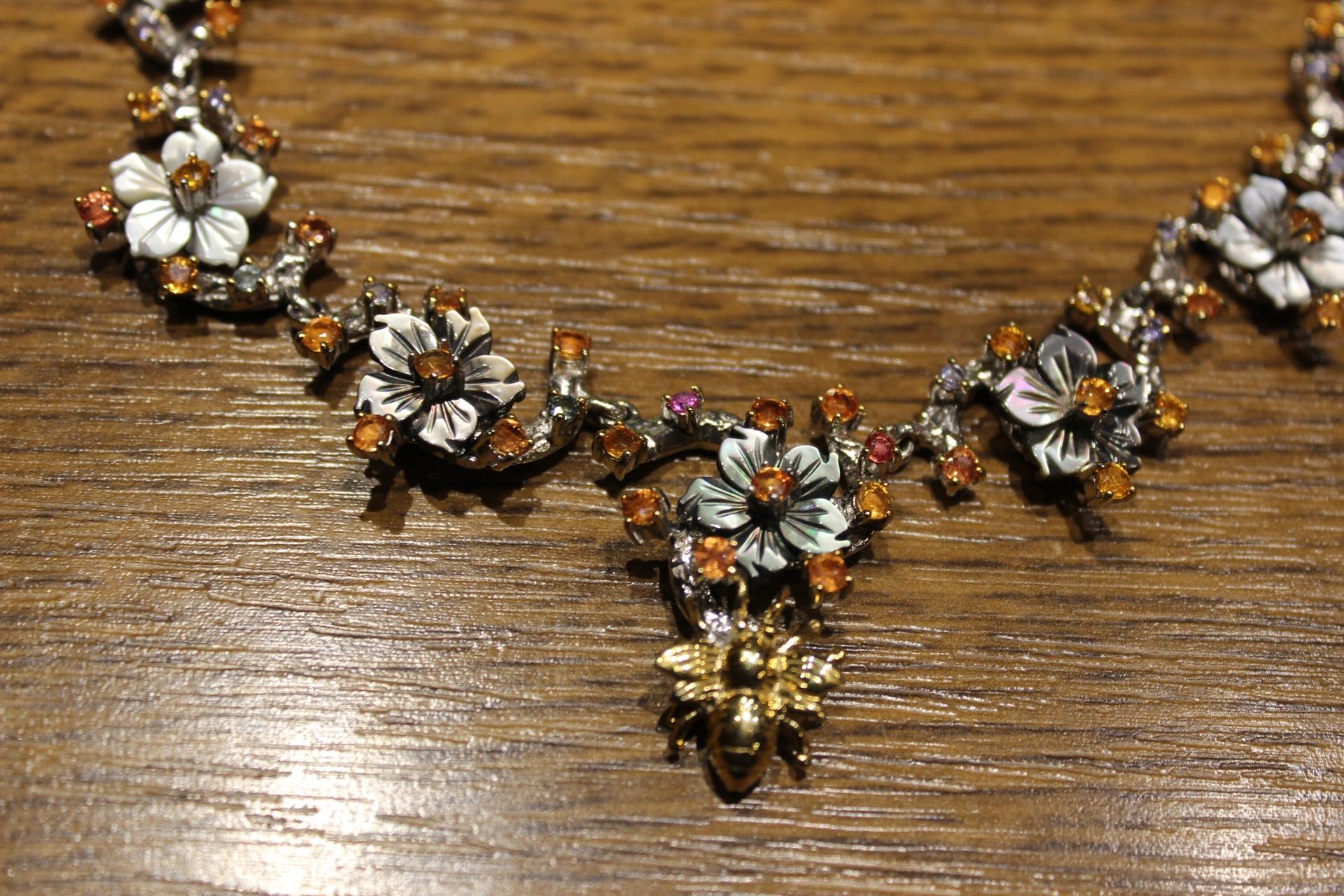 Strieborný náhrdelník prírodné sapphire Songea