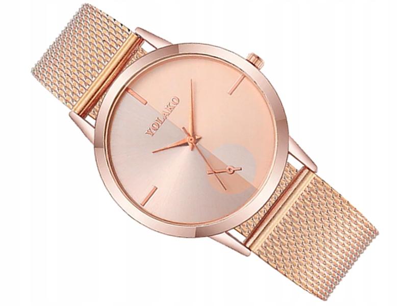 M196 Zegarek Damski Różowe Złoto SLIM Bransoleta