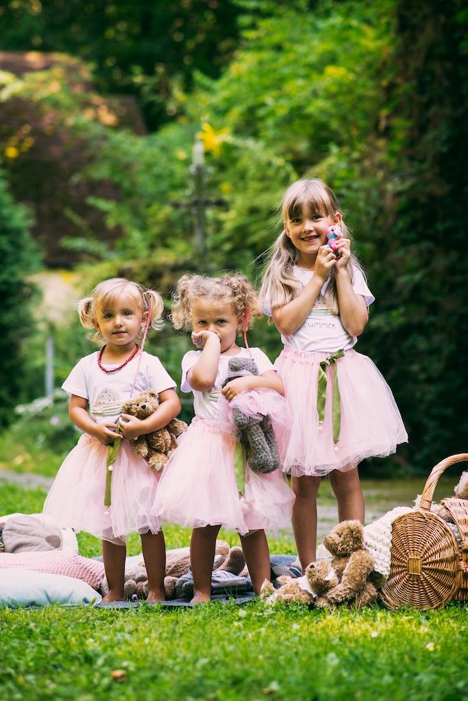 Zestaw dziewczynka spódniczka tiul lato różowa Rozmiar 100