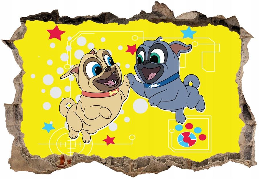 Bingo a Rolly v akcii 3D nástenná maľba 130 x 90 cm