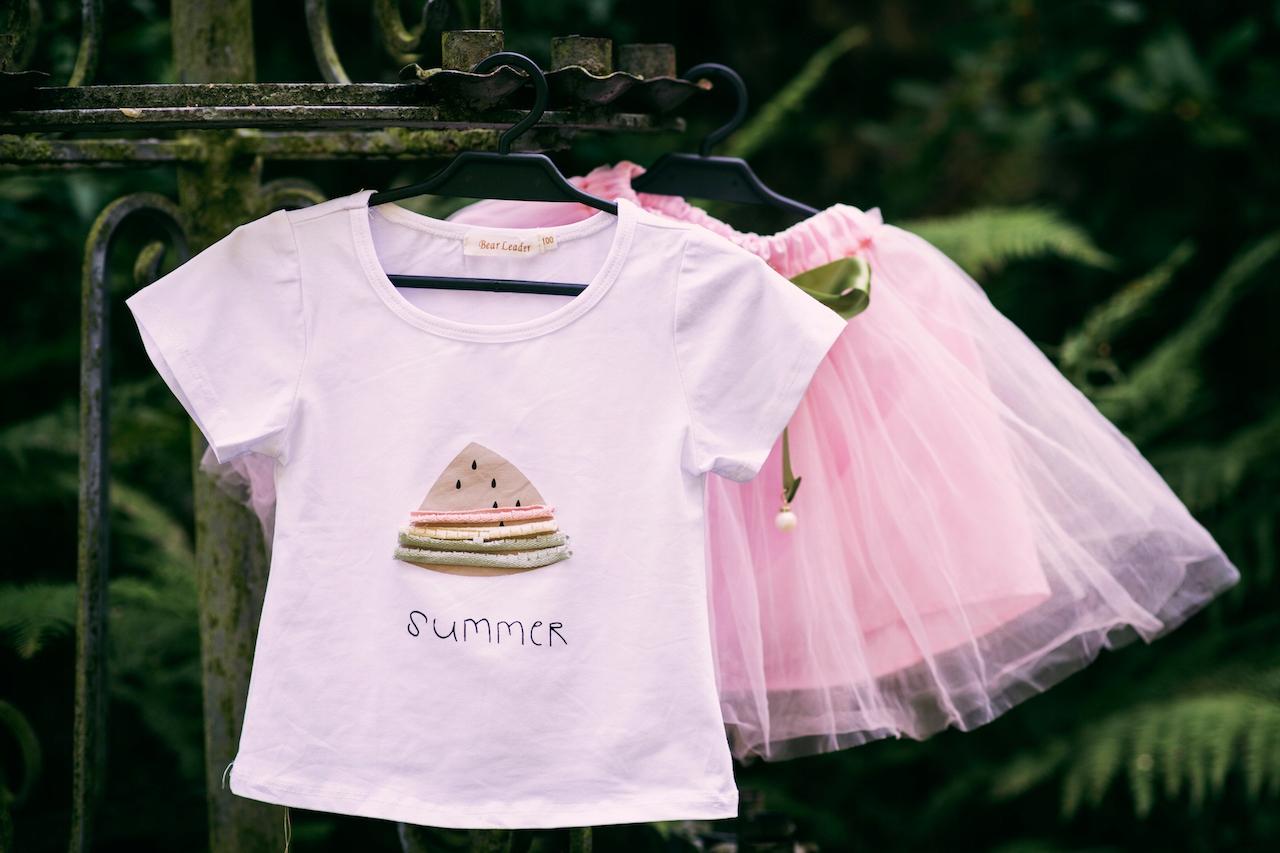 Zestaw dla dziewczynki spódniczka tiul lato różowa Rękaw krótki rękaw