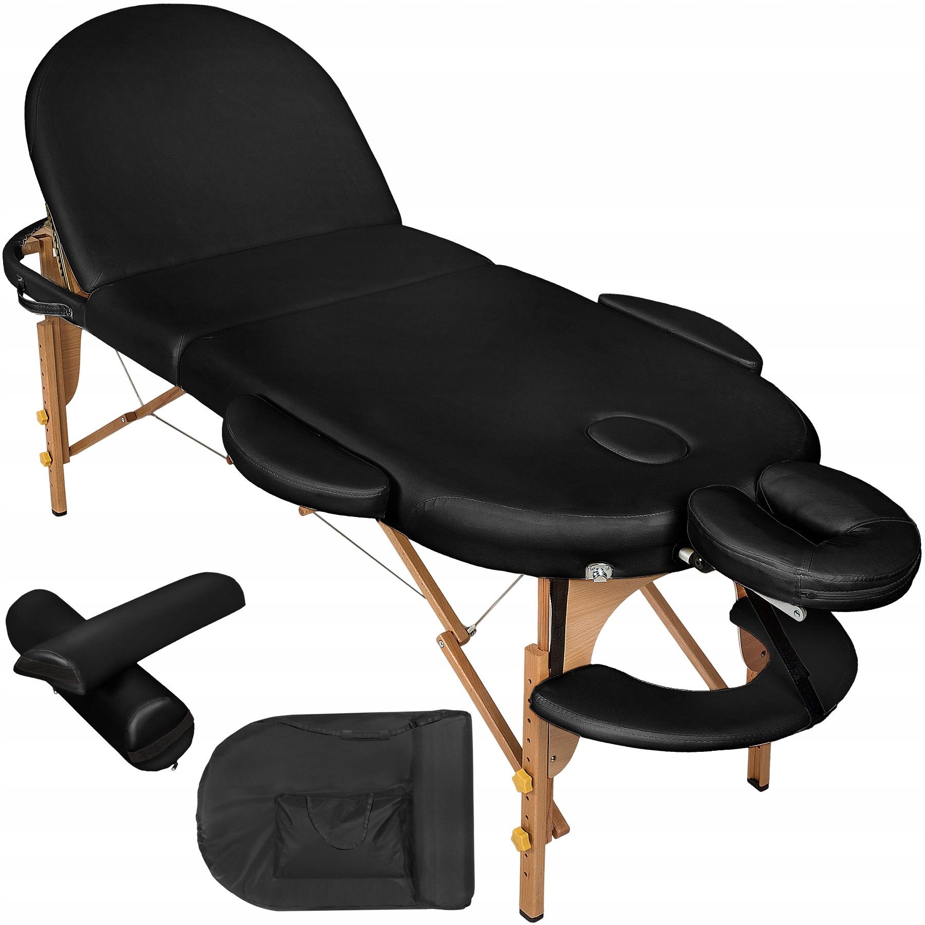 Łóżko stół do masażu  3 segm owal czarne 400192