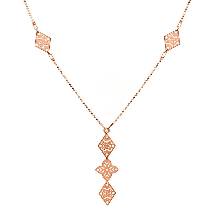 Naszyjnik ażurowy srebrna złocenie różowe