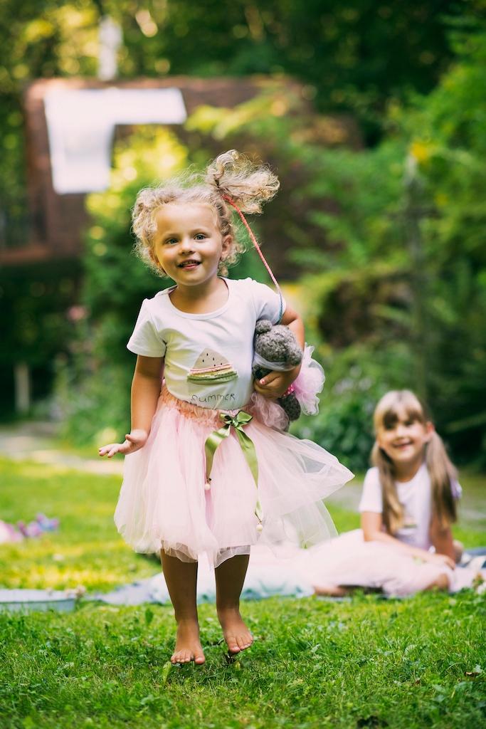 Zestaw dla dziewczynki spódniczka tiul lato różowa Długość przed kolano