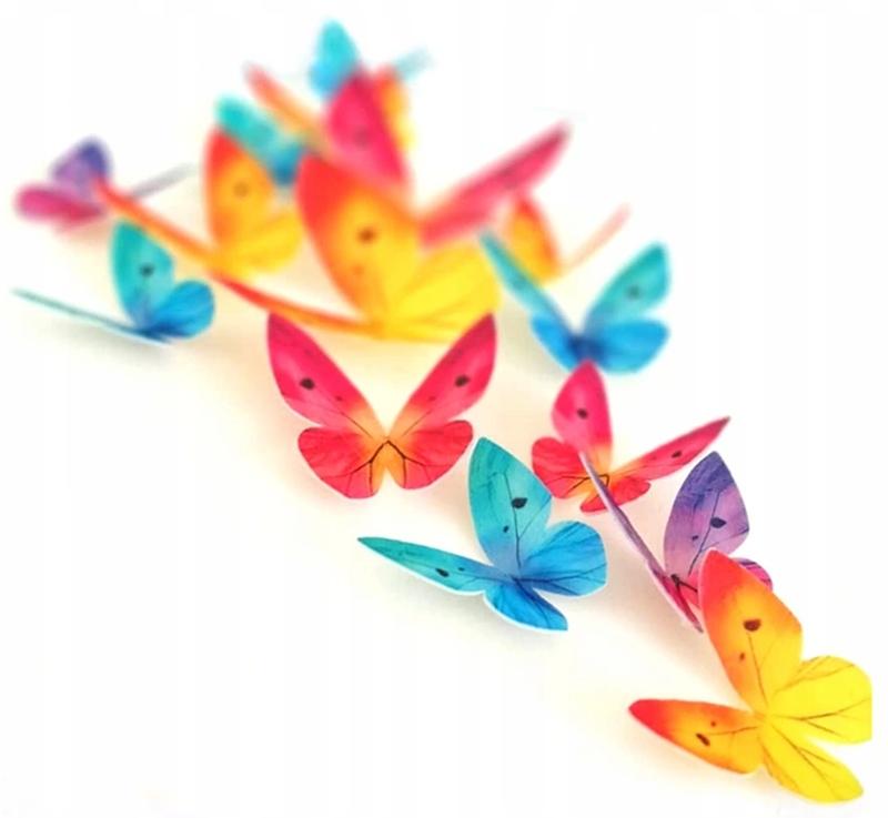 Вафельные бабочки 3D MIX COLOR бабочки бабочки 10 шт.