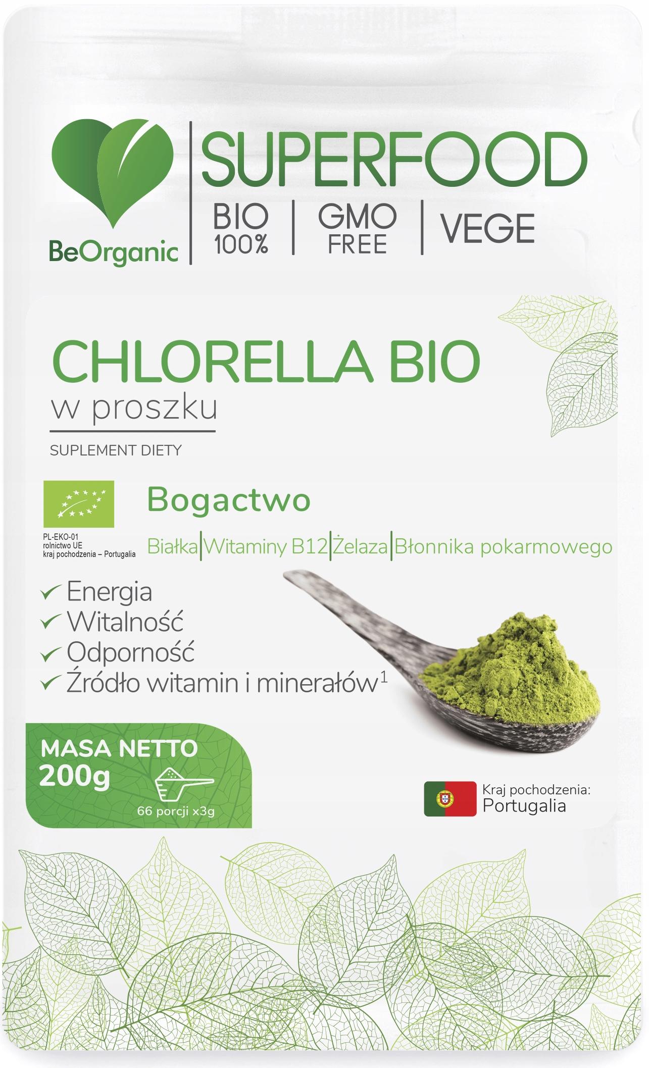 BeOrganic CHLORELLA Bio ORGANICZNA w proszku 200g