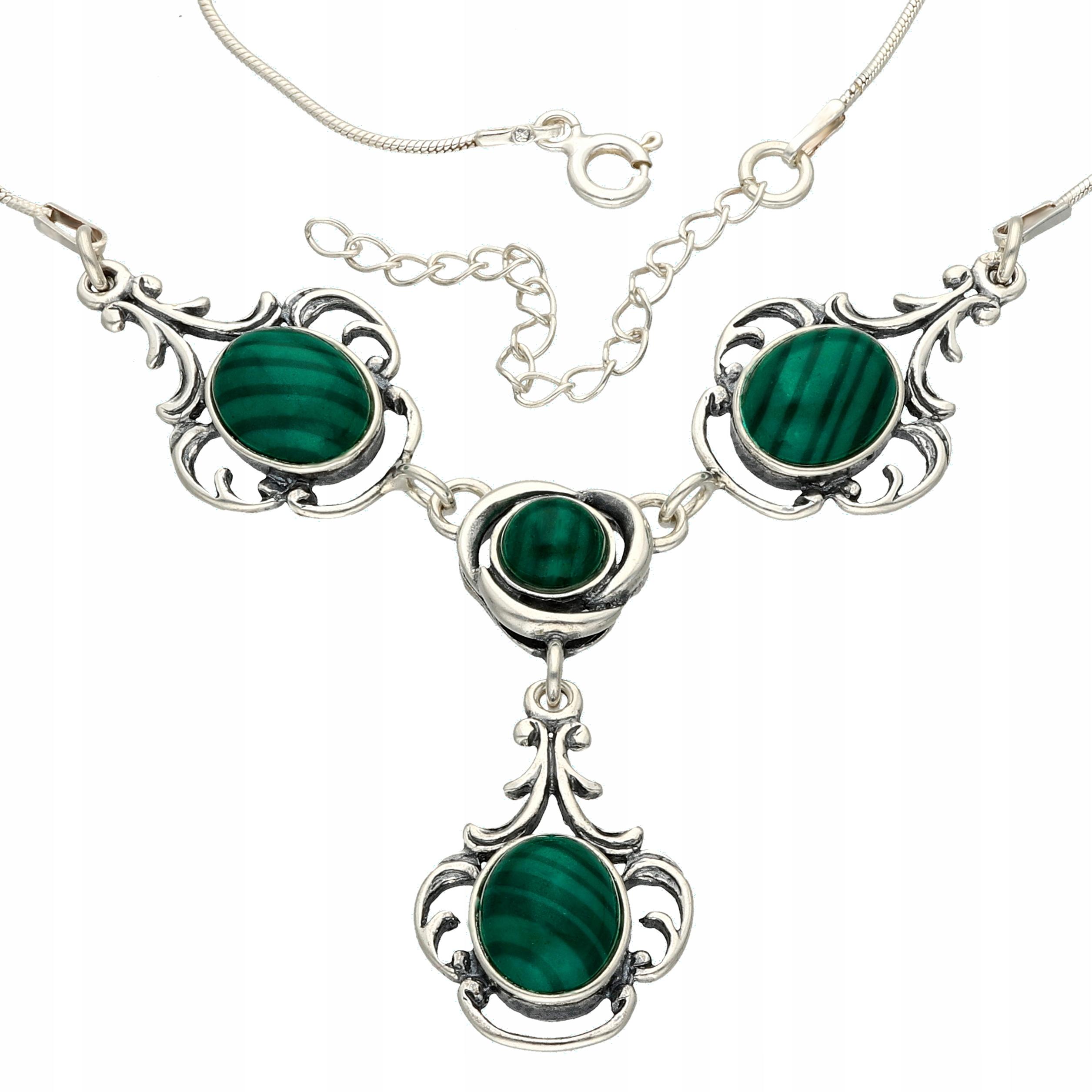NÁHRDELNÍK STRIEBORNÝ s malachitem Garniža náhrdelník