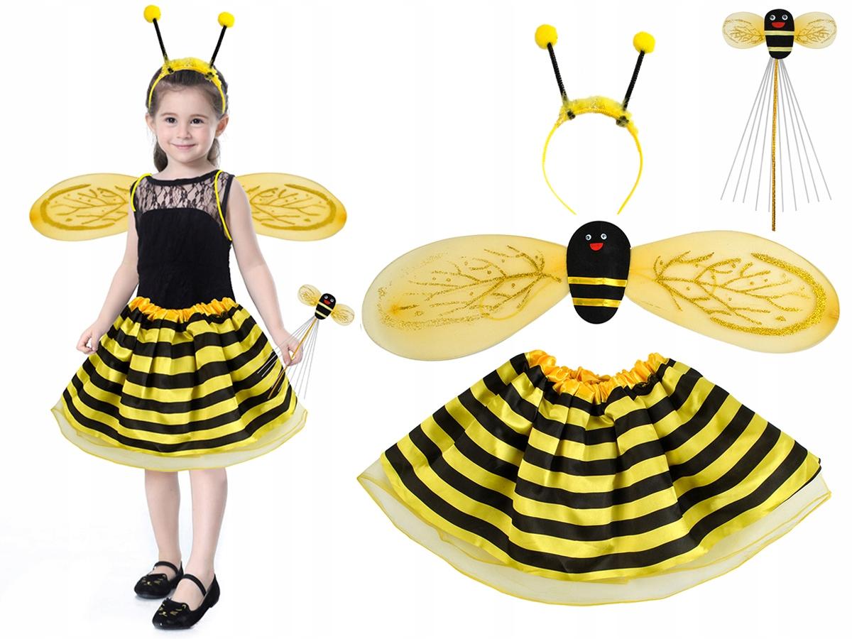 Strój Pszczółka Kostium Komplet 4w1 Skrzydła 3-10l