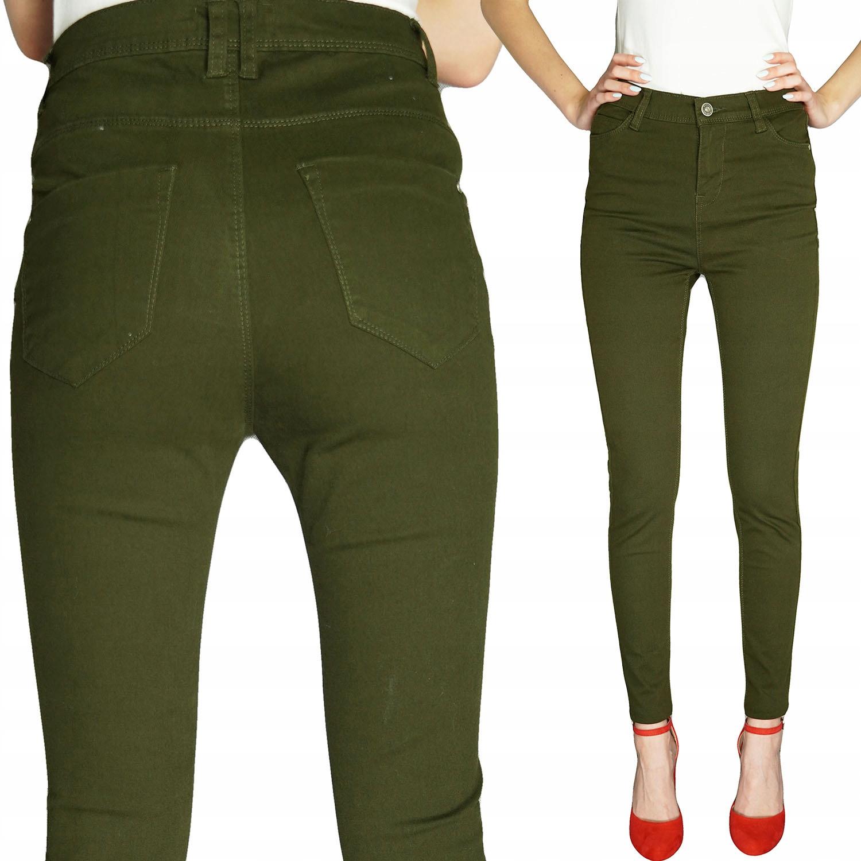 Mim Spodnie Jeans Super Skinny Rurki Oliwka M 38