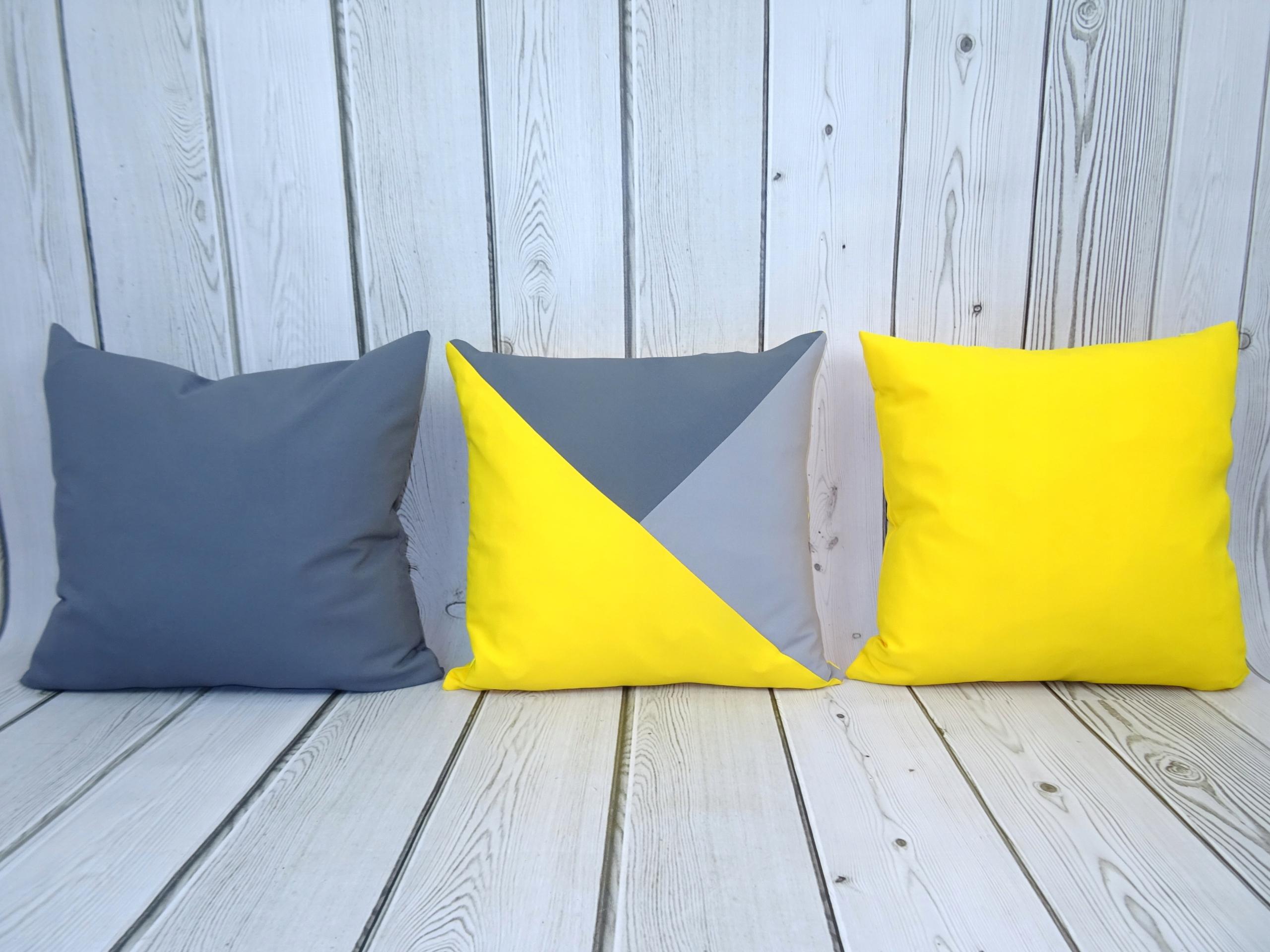 3 Poduszki Dekoracyjne żółte Trójkąty