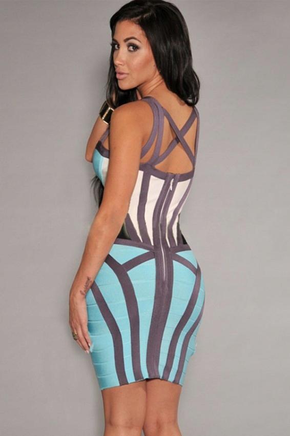 Koktajlowa sukienka bandażowa 28165 kolorowa 34 XS