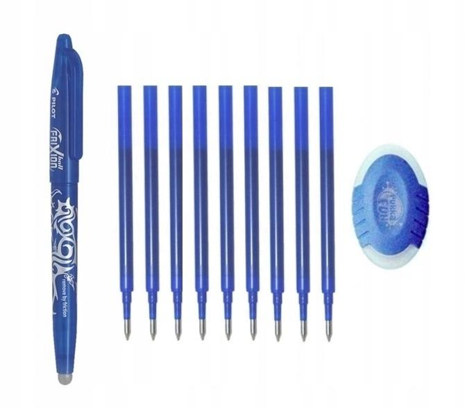 Długopis PILOT FRIXION 0 7 i 9 wkładów i gumka FUN