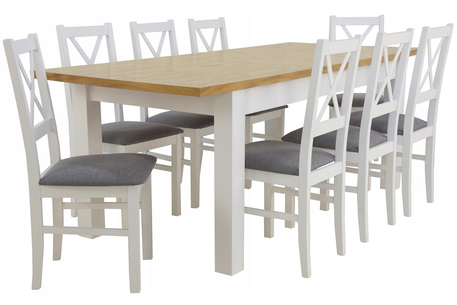 Большой БЕЛЫЙ набор. Изготовлен из дерева. Стол на 250 и 8 СТУЛЬЕВ.