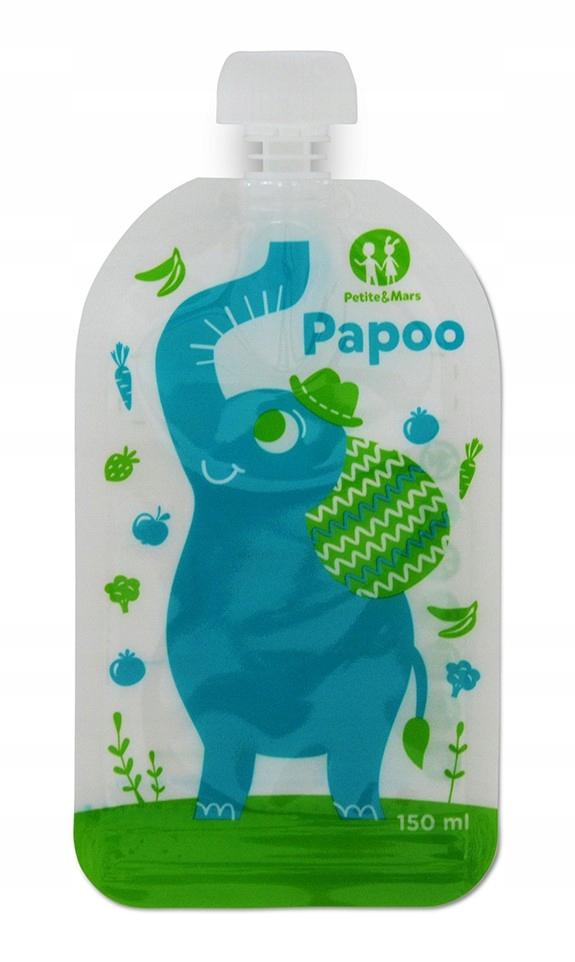 Item PAPOO wielorazowe saszetki na pokarm-6szt ELEPHANT