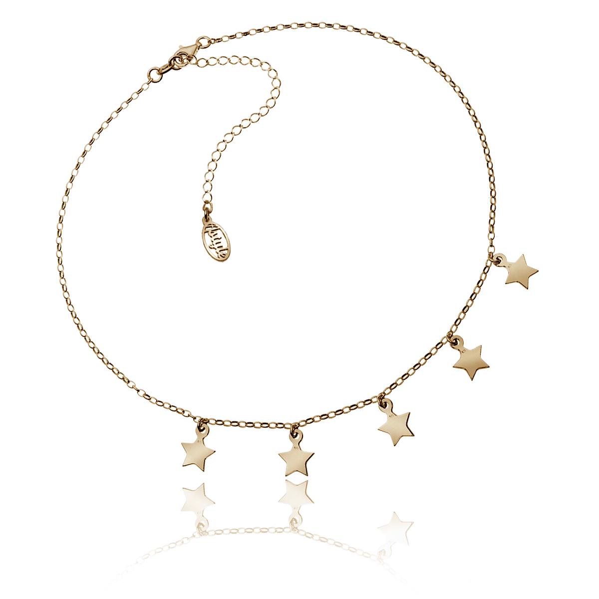 Choker z gwiazdkami srebrny złocenie różowe