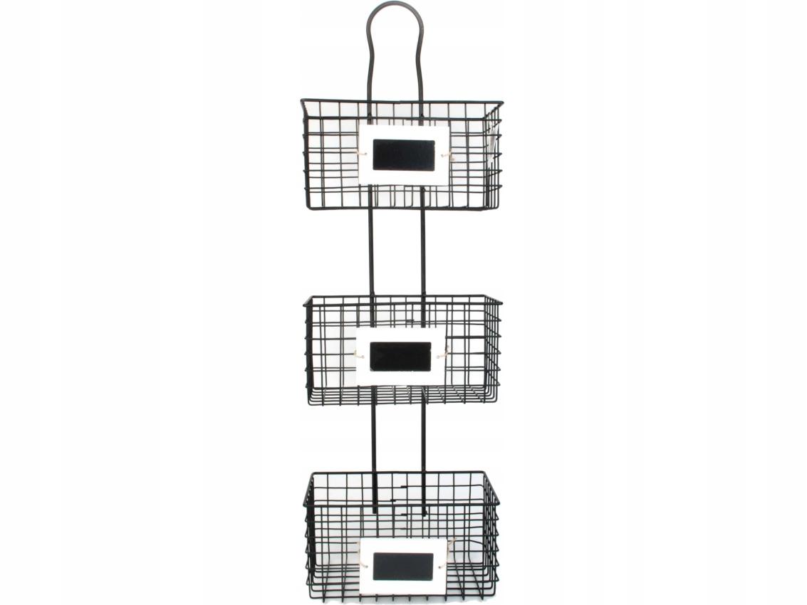 Drôtené police s 3 koše - 23x15,5x74 cm RETRO LOFT