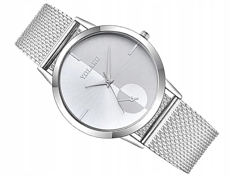 M196 Srebrny Zegarek Damski SLIM Bransoleta Półmat