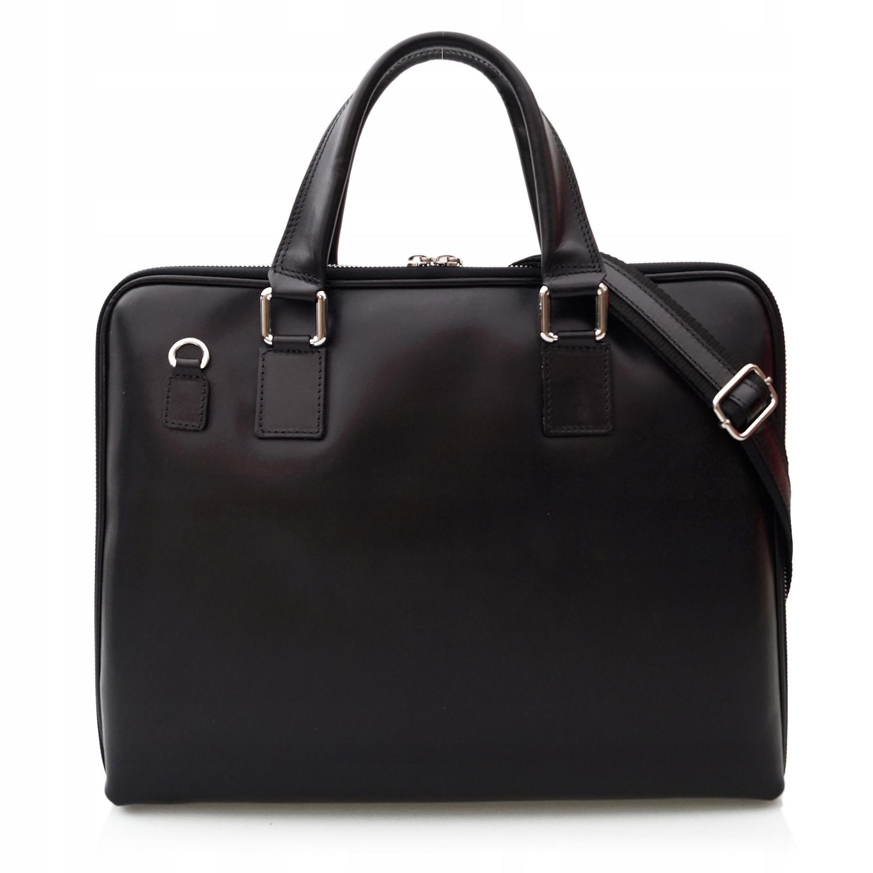 Vera Pelle torebka skórzana teczka A4 V410 czarna