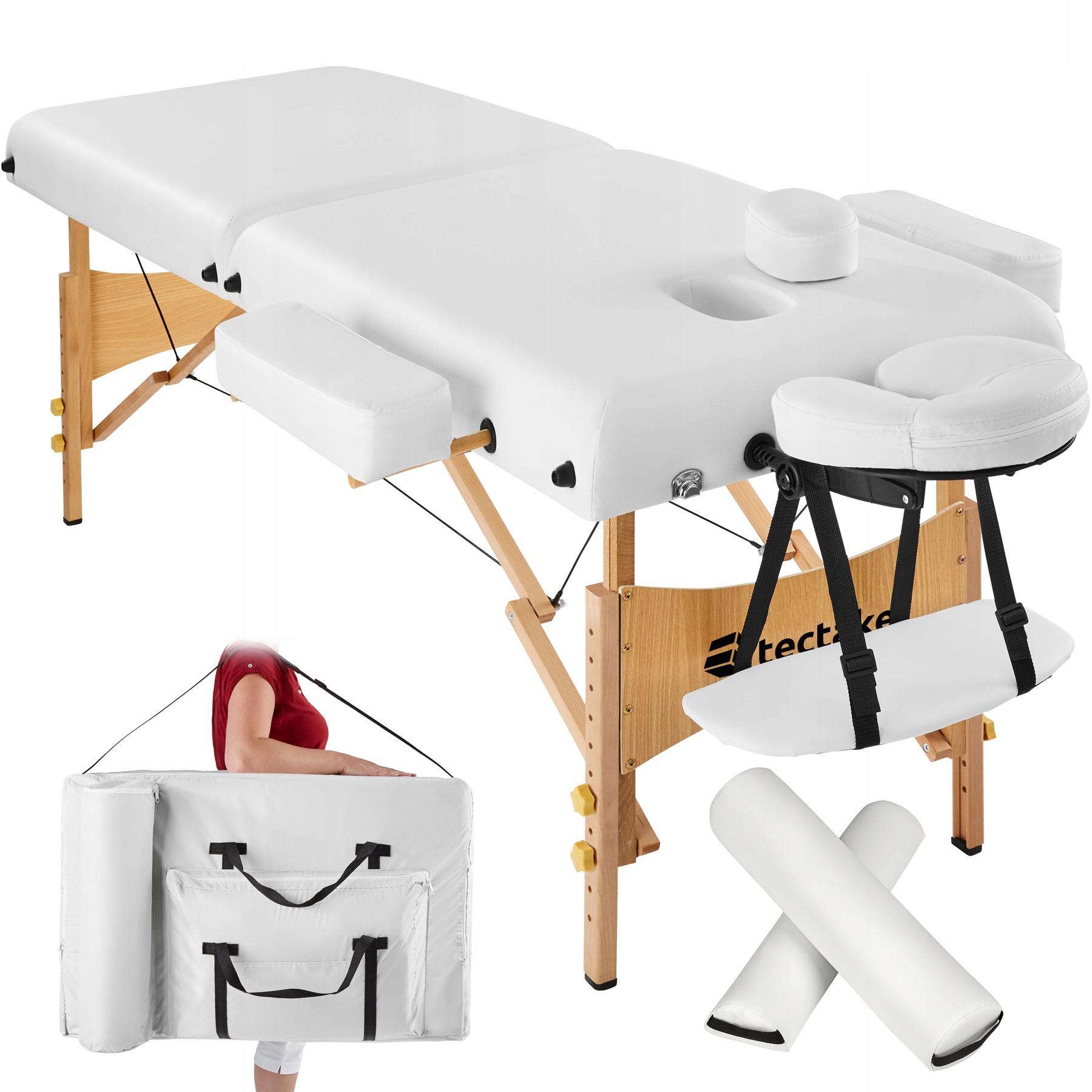 Łóżko stół do masażu  2 segmenty  biały 400419