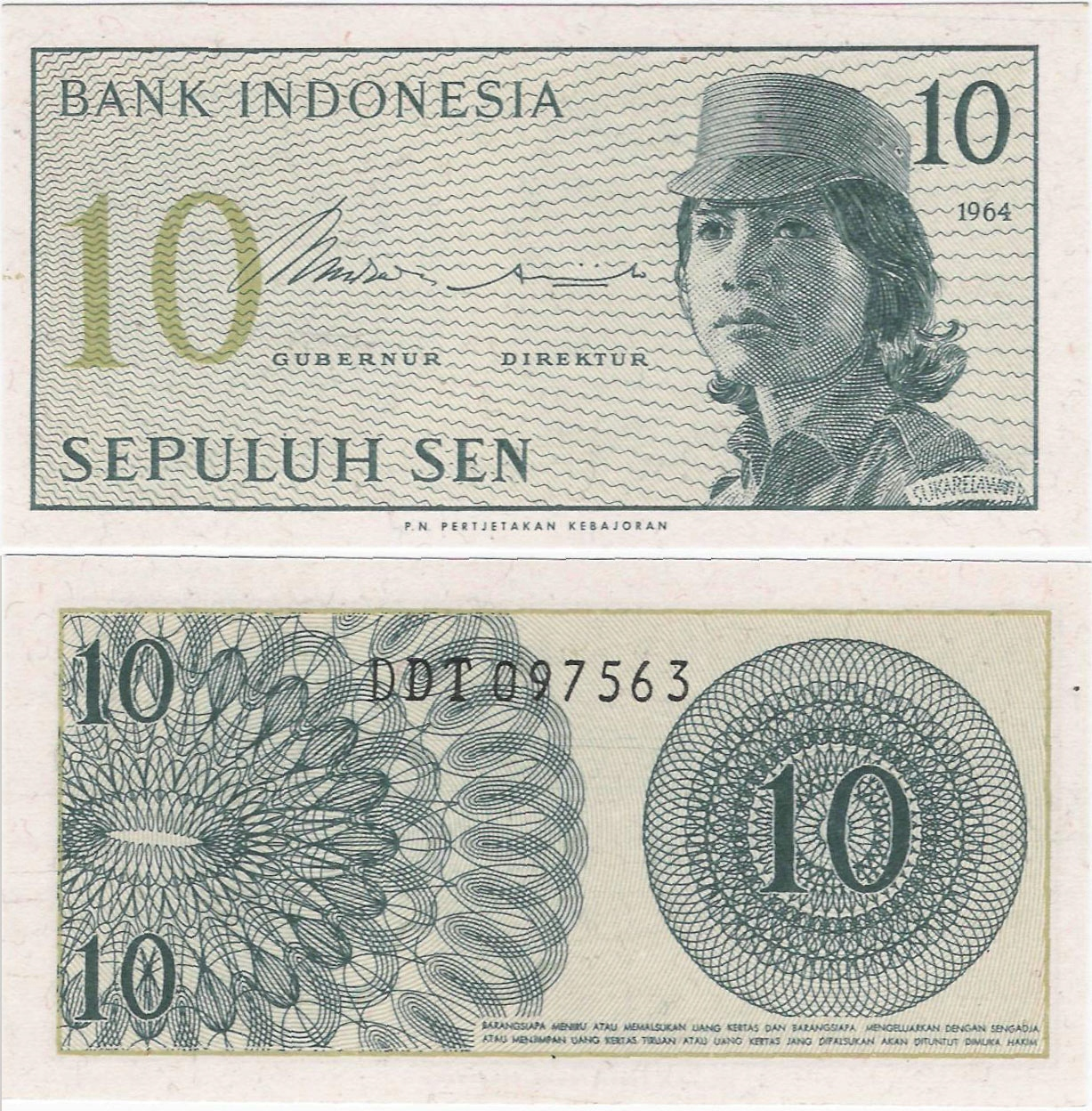 Indonezja 1964 - 10 sen - Pick 92 UNC