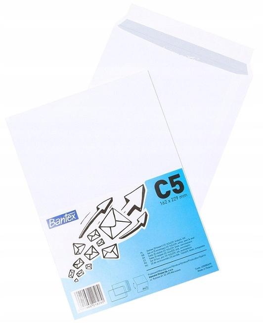 Конверт С5 для формата А5 белые 25шт. Bantex