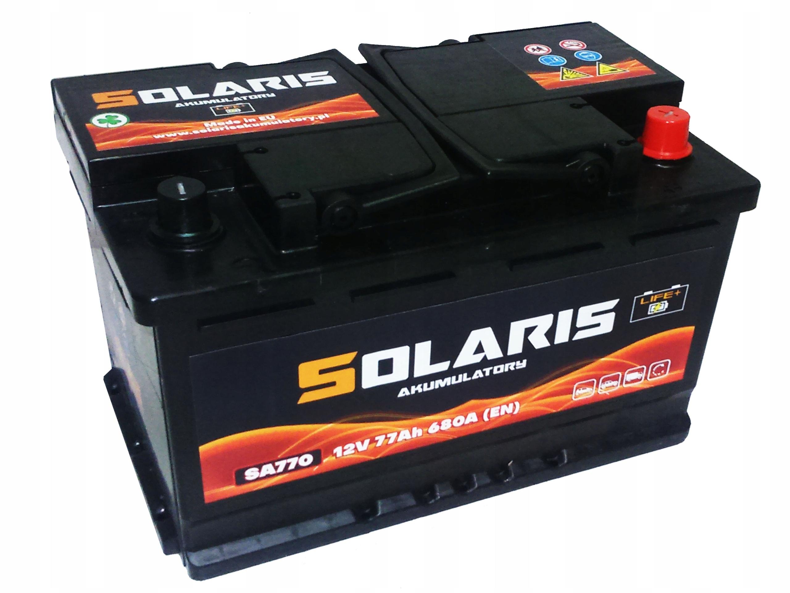 аккумулятор solaris 77ah 680a они 770