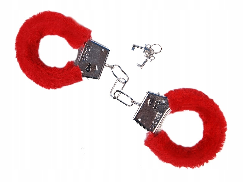 Item Handcuffs with a thick fur - red