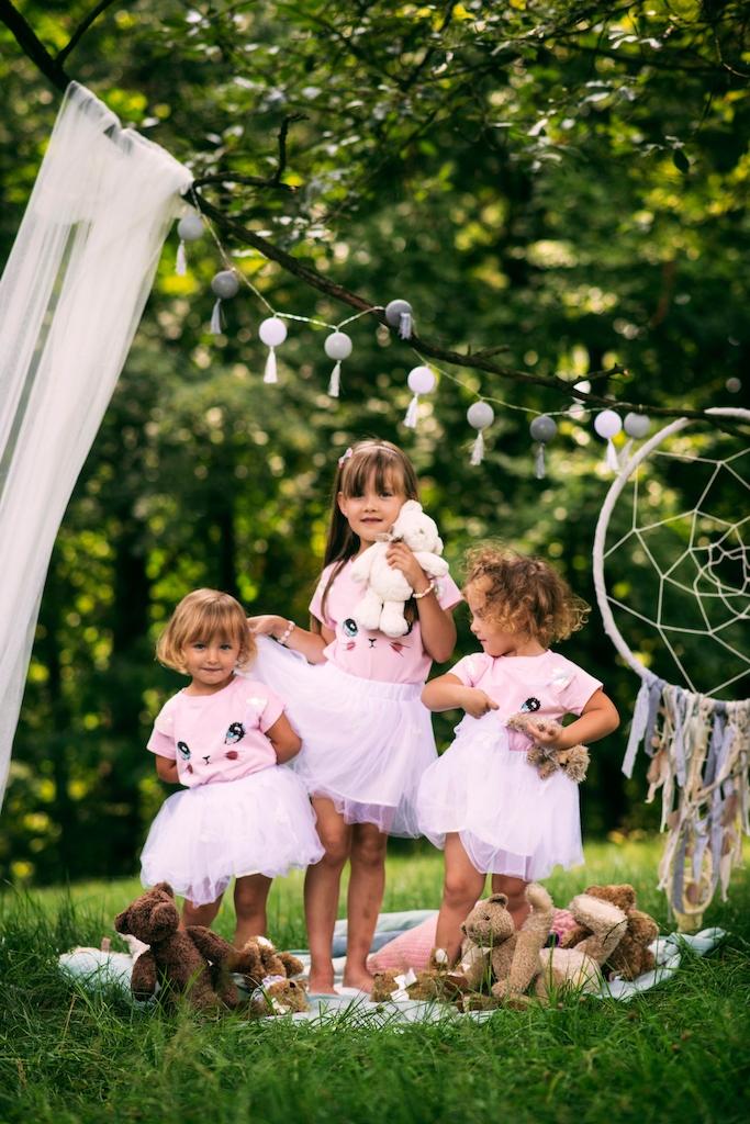 Zestaw dla dziewczynki kotek tiul lato różowa 130 Płeć Dziewczynki