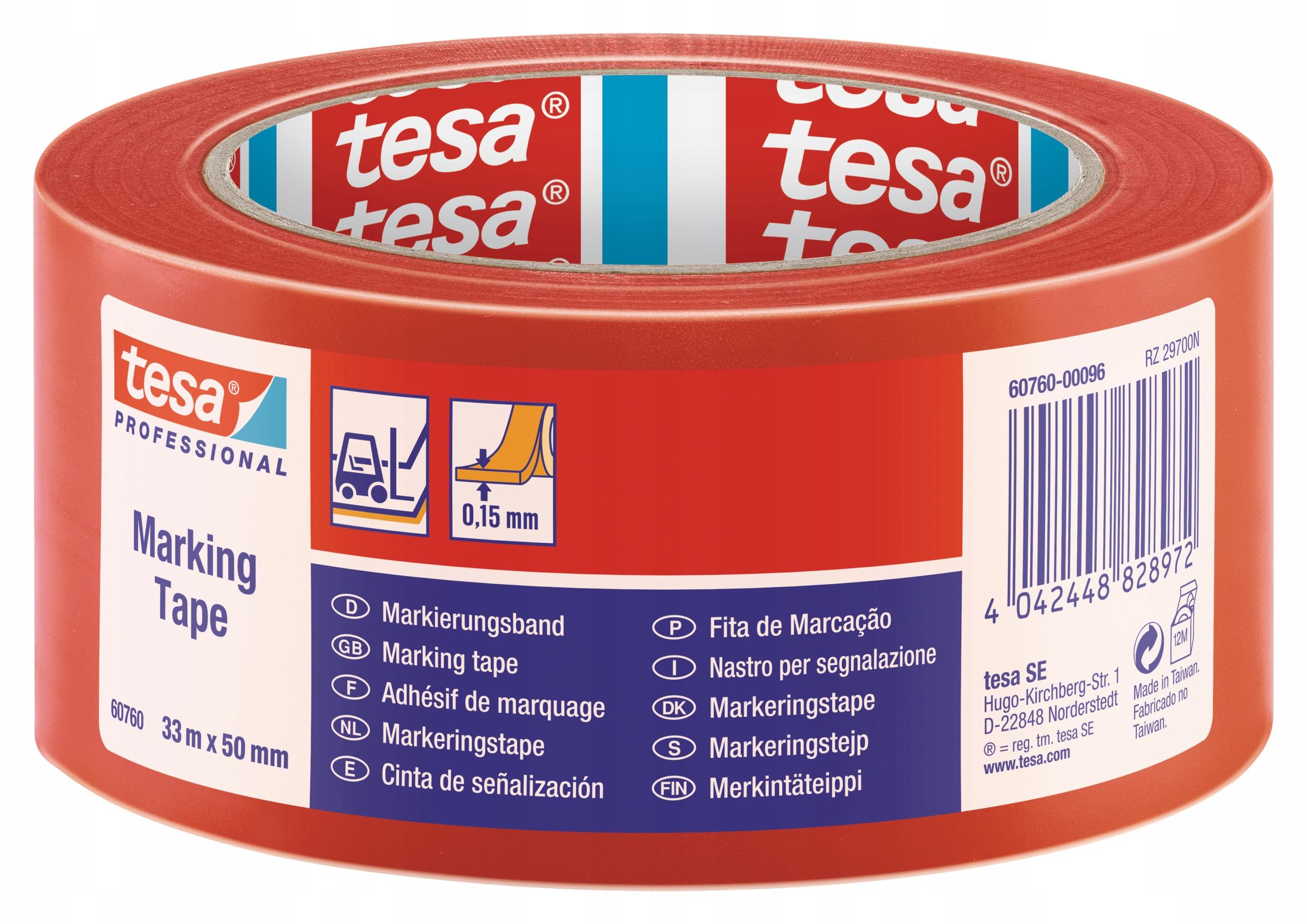 Предупреждающая лента tesa красный 33m x 50mm