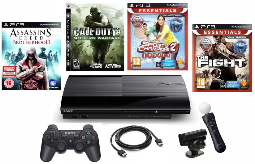 Playstation 3 Superslim + Pad + Move + 4 hry