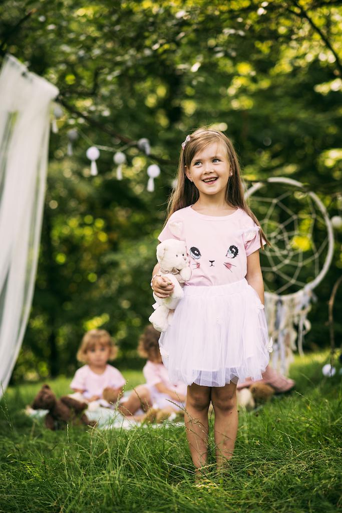Zestaw dla dziewczynki kotek tiul lato różowa 130 Długość przed kolano