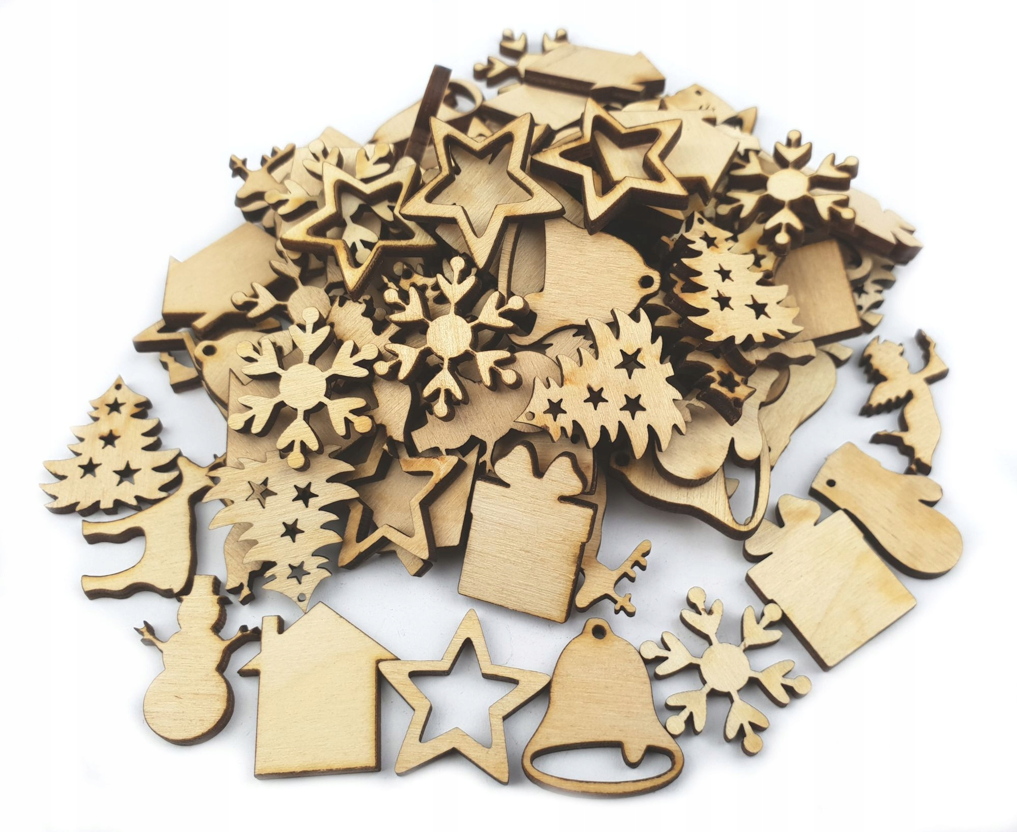 Item Mini wooden ornaments for Christmas MIX 100pcs 25mm