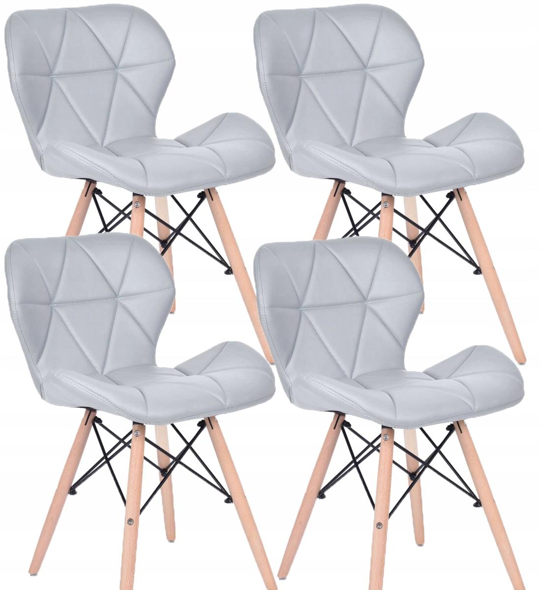 4x Stoličky Škandinávskych DSW Prešívaný Interiér Jadaln