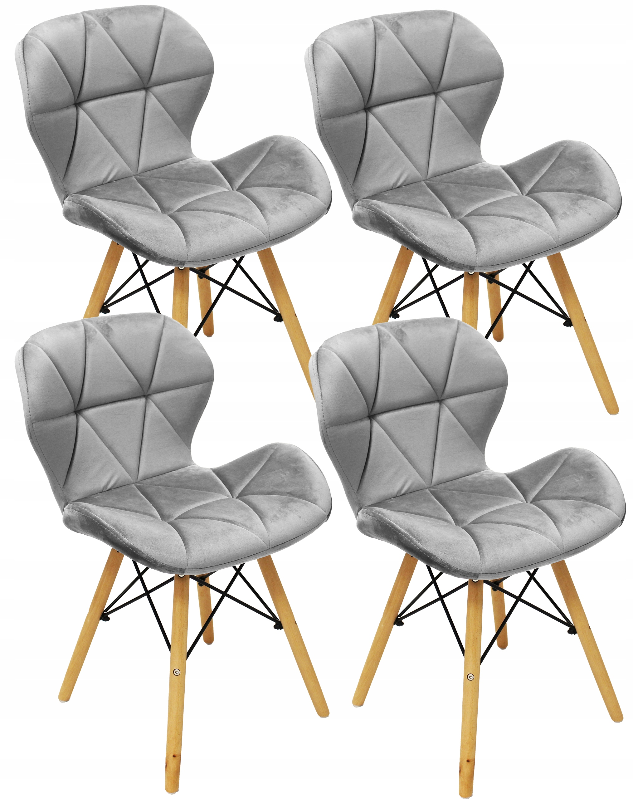4x Stoličky DSW VELÚROVÉ Škandinávskych Jedáleň Kuchyňa