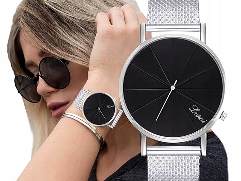 Item M230 Silver ladies THIN Bracelet Watch Black