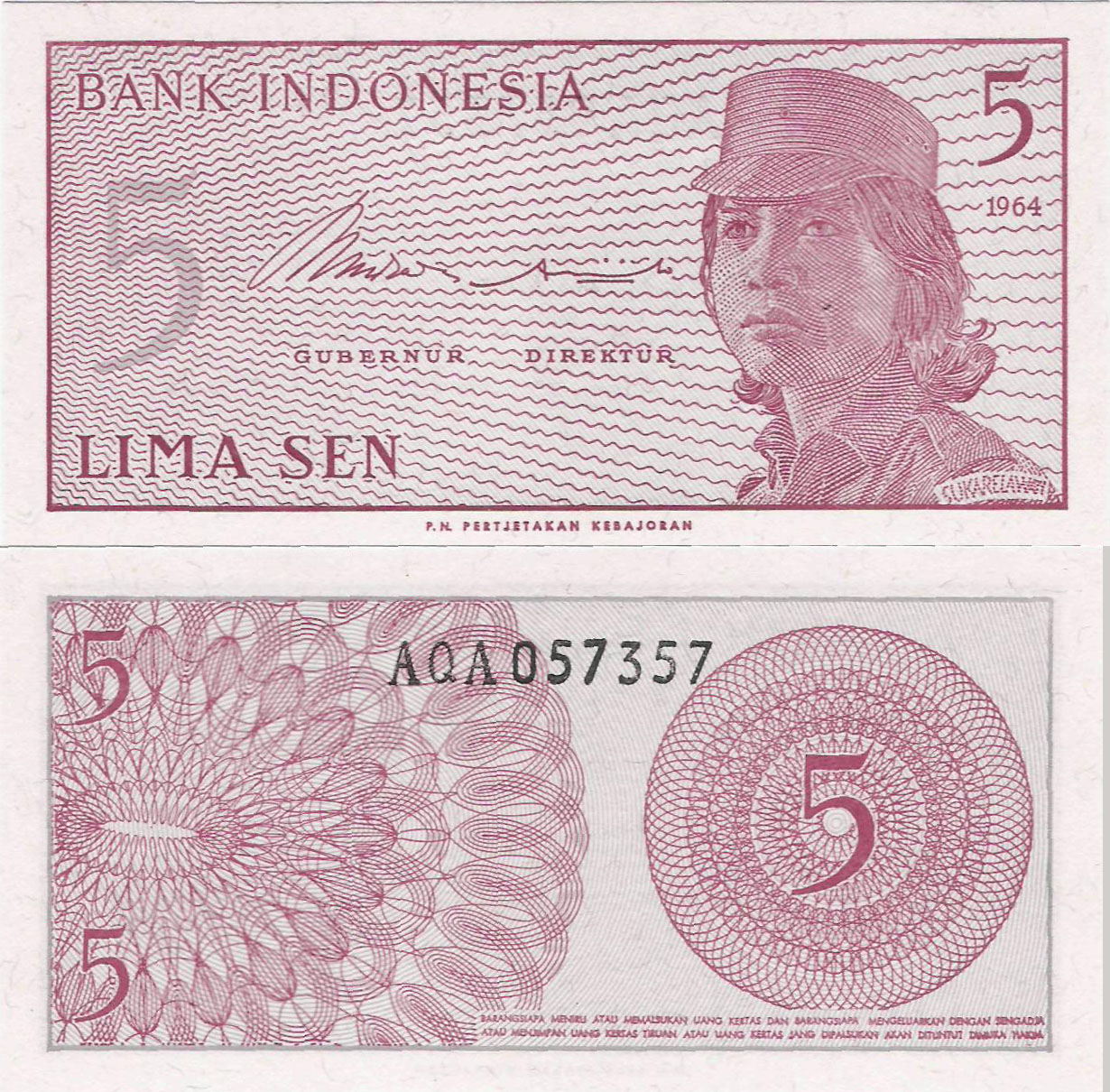 Indonezja 1964 - 5 sen - Pick 91 UNC