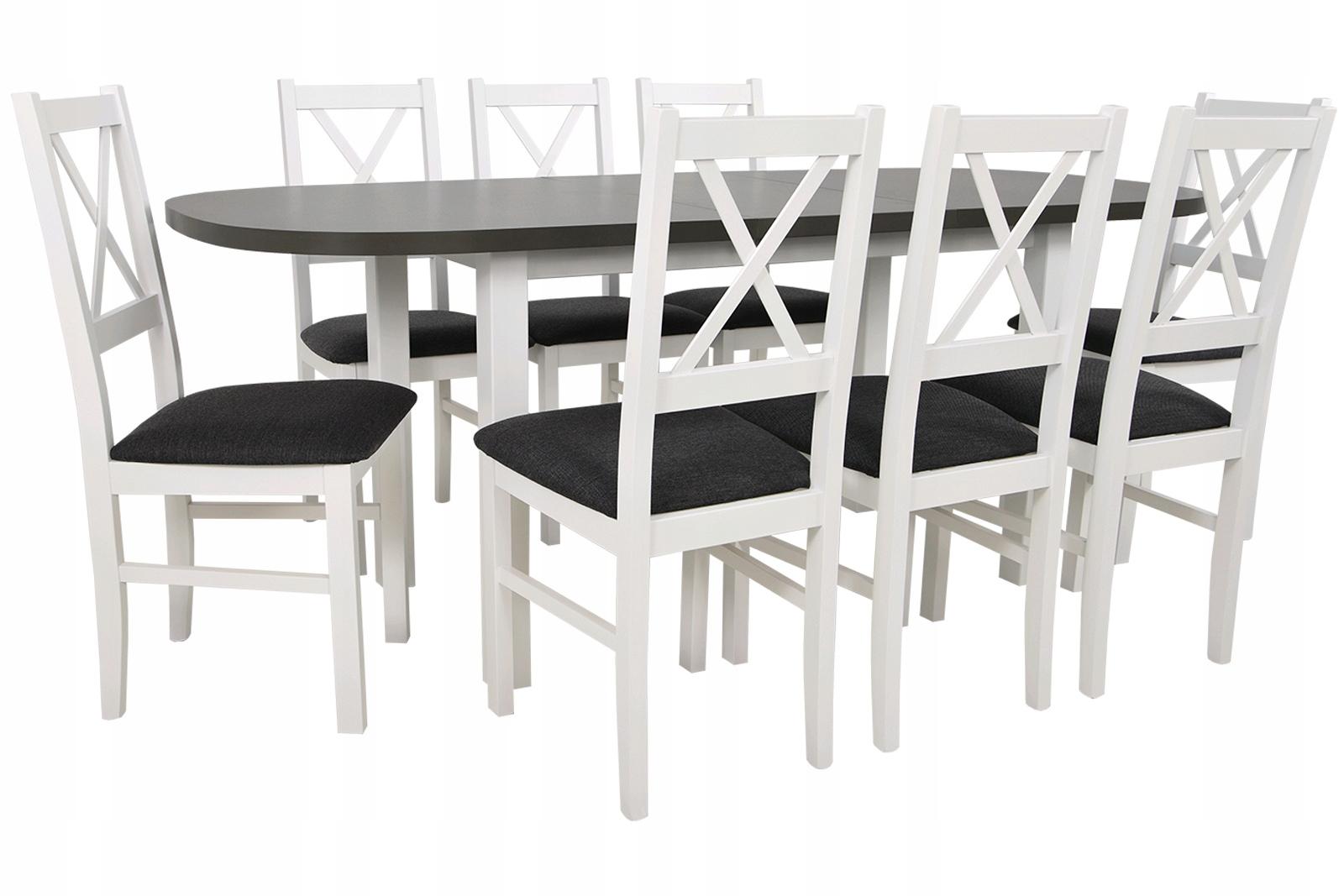 Купить БОЛЬШОЙ НАБОР Стол 2м и 8 стульев из дерева БЕЛЫЙ на Otpravka - цены и фото - доставка из Польши и стран Европы в Украину.