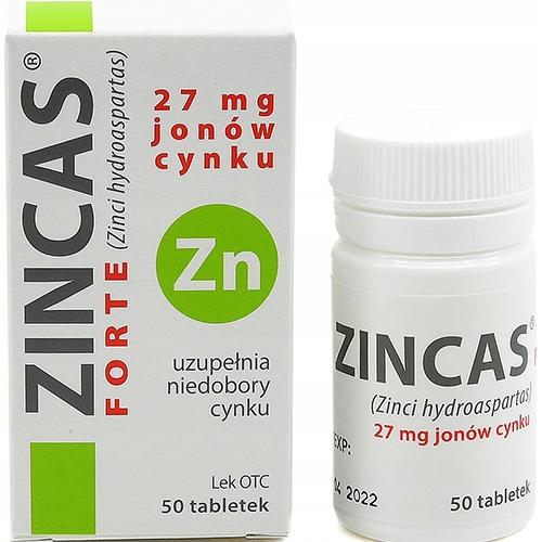 Item Zincas Forte Compensates the Level of 27 mg Zinc - 50 tablets