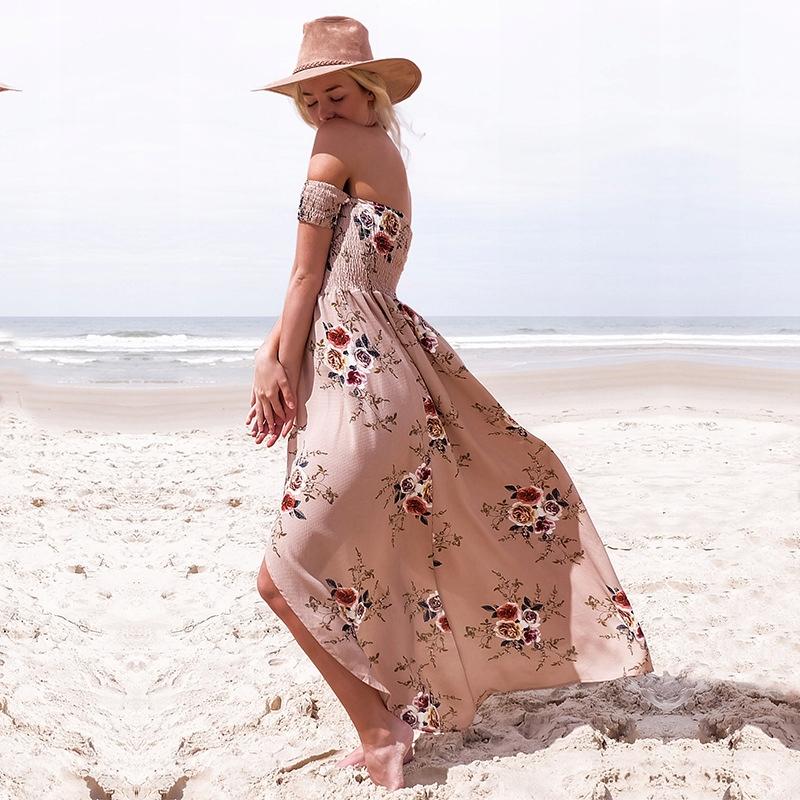 Długa letnia sukienka boho kwiaty plażowa pareoXXS