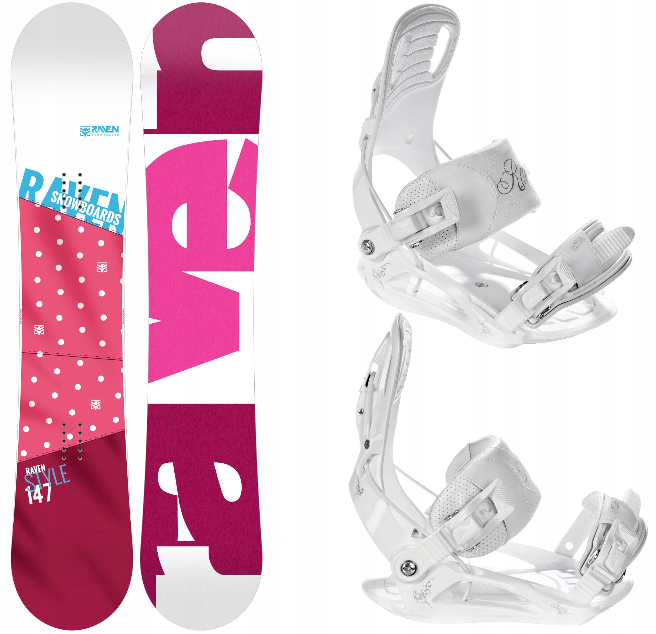Snowboard RAVEN Štýl Ružová 140 cm + Viazanie Luna