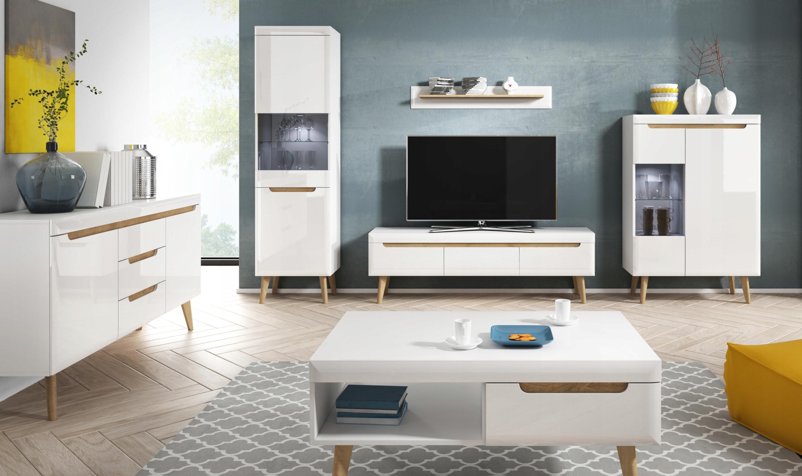 Купить набор мебели LOCO 4 скандинавское Белый  ГЛЯНЕЦ на Eurozakup - цены и фото - доставка из Польши и стран Европы в Украину.
