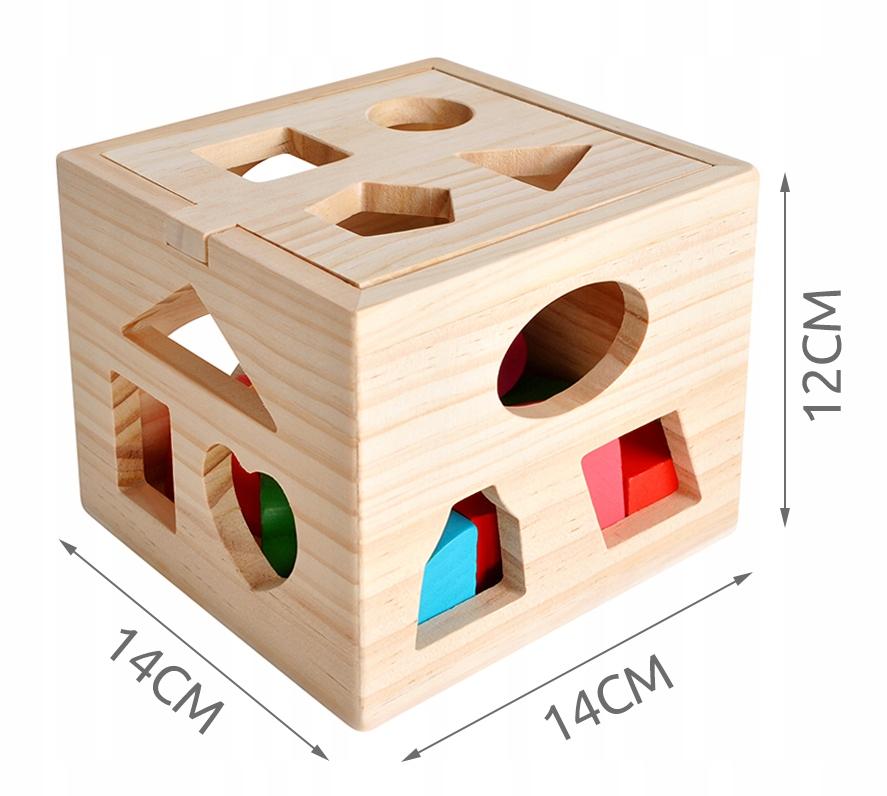 Drewniany Sorter Kostka Edukacyjna Skrzynka Klocki Marka Kruzzel