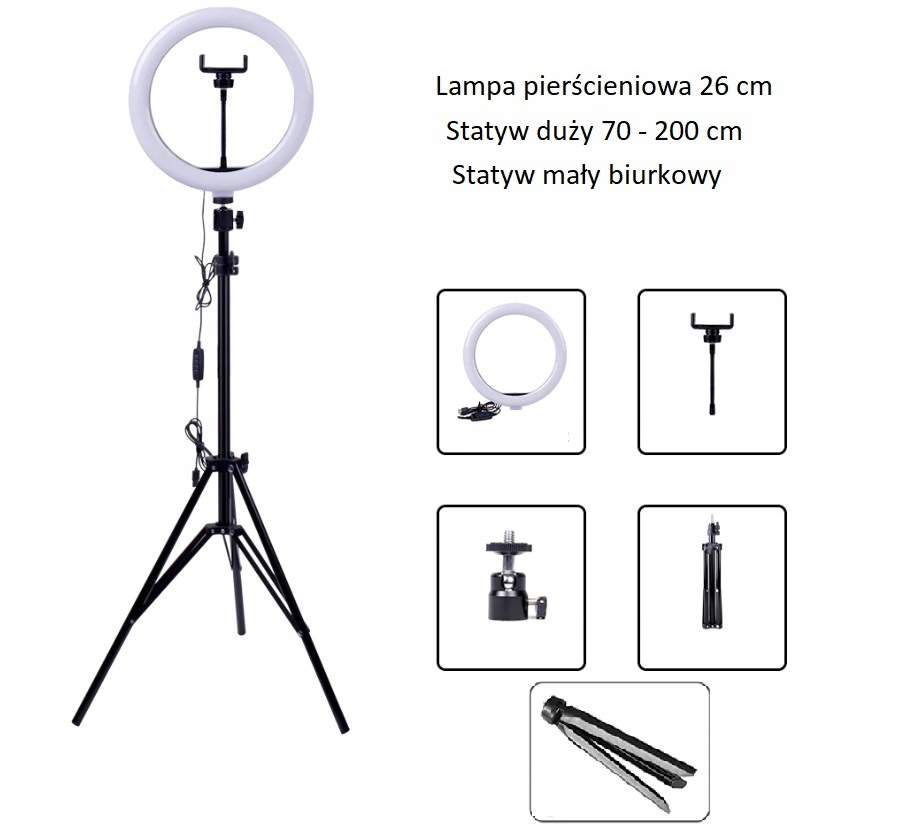Купить Lampa pierścieniowa ring + 2 statywy (I065) на Otpravka - цены и фото - доставка из Польши и стран Европы в Украину.